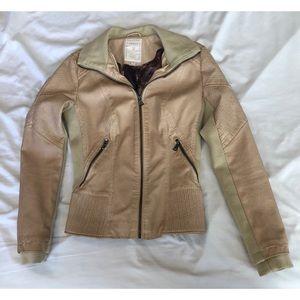 Tan leather moto jacket